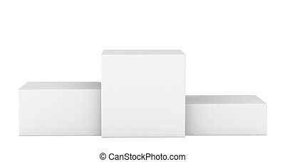 Isolated White pedestal. Winners podium. 3d render -...