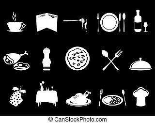 white restaurant icons set
