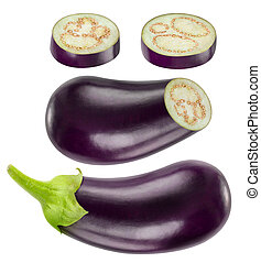 Isolated whole and cut eggplants collection