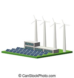 Isolated wind and solar power plant. Vector illustration...