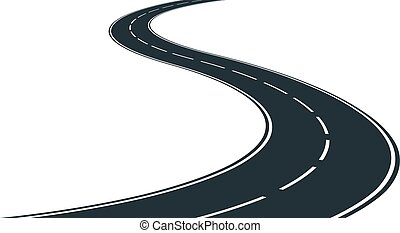 winding road - isolated winding road - clip art illustration