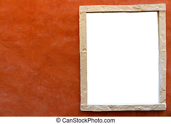 isolated window frame in side of orange clay wall