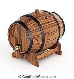 Isolated wine barrel - Very high resolution 3d rendering of...