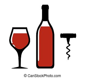 wine bottle, glass and corkscrew