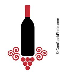 isolated wine bottle with decorative grape