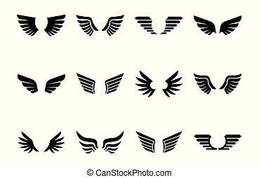 Isolated wings glyph icon set, vector illustration