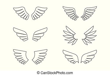 Isolated wings outline icon set, vector illustration
