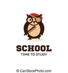 Isolated wise owl vector logo. School logotype. Cartoon illustration. Teacher.