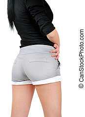 Isolated woman back view