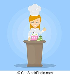 Isolated woman chef.