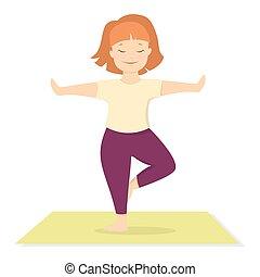 Isolated woman doing yoga.