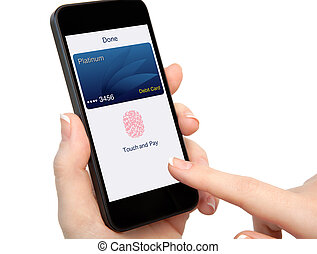 isolated woman hand holding phone debit card app touch pay