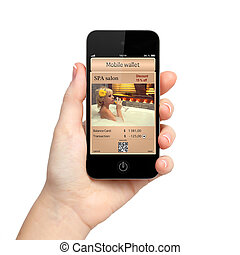 isolated woman hand holding the phone touch with a mobile...