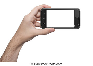 isolated woman hand holding the phone isolated screen