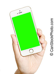 isolated woman hand holding the phone touch gadget with green screen on white background