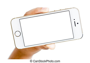 isolated woman hand holding the phone touch gadget with white screen on white background