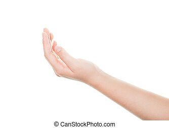 Isolated woman hand on white background