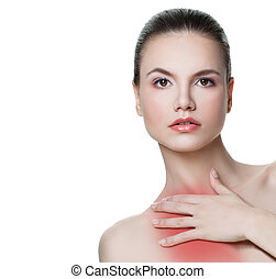 Isolated woman having a pain in a chest neck area