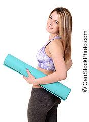 Woman holding Foam Exercise Mat