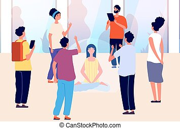 Isolated woman. Introvert vs extravert, mental calm and meditation. Girl in bubble and people around. Separation from social environment vector illustration. Character in bubble emotional illustration