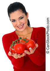 Isolated Woman Offering Tomatoes