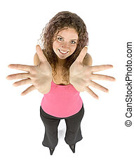 woman shows hands