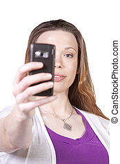 Woman taking  pictures from her cell phone