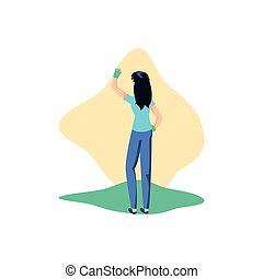 Isolated woman with gloves design