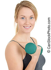 Woman with green weights
