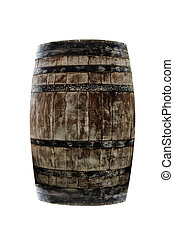 isolated wood barrel on a white background