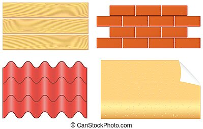 isolated wood boards, bricks, ply shingles and wallpaper set...