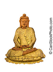 Isolated wood Buddha statue on white background