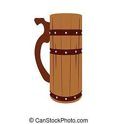 Isolated wooden beer mug
