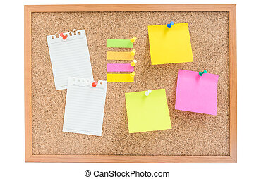 Isolated wooden board with colorful sticky notes and paper