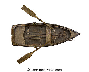 wooden boat - Isolated wooden boat with paddles