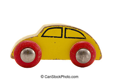 isolated wooden car toy