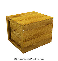 isolated wooden crate 3d rendering
