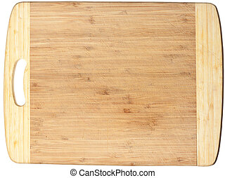 Isolated used wooden cutting board. Clipping path included