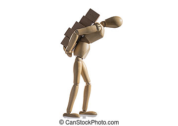 Isolated wooden dummy over a white background.