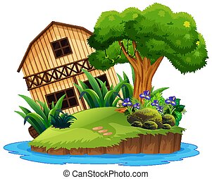 Isolated wooden house on island