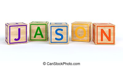 Isolated wooden toy cubes with letters with name jason -...