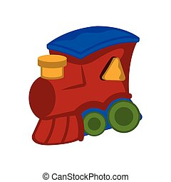 Isolated wooden train toy cartoon image