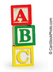 Isolated word ABC on white background