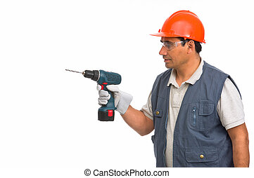 worker using cordless electric drill - Isolated worker using...