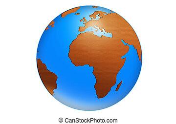isolated world globe