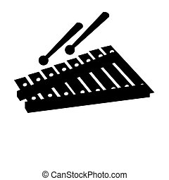 Isolated xylophone silhouette
