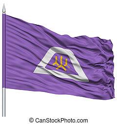 Isolated Yamanashi Japan Prefecture Flag on Flagpole, Flying...