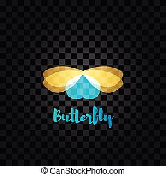Isolated yellow and blue butterfly vector logo. Insects logotype. Wings.