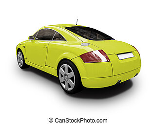 isolated yellow car back view