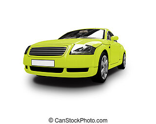 isolated yellow car front view - isolated sport car on white...